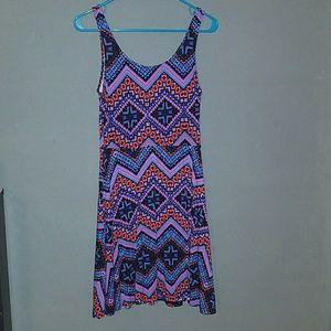 Express Red/Blue/Purple Geometric Skater Dress